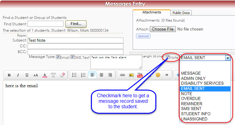 Save messages for emails or text sent from student listing.